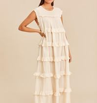 Devotion Devotion long dress ruffle natural