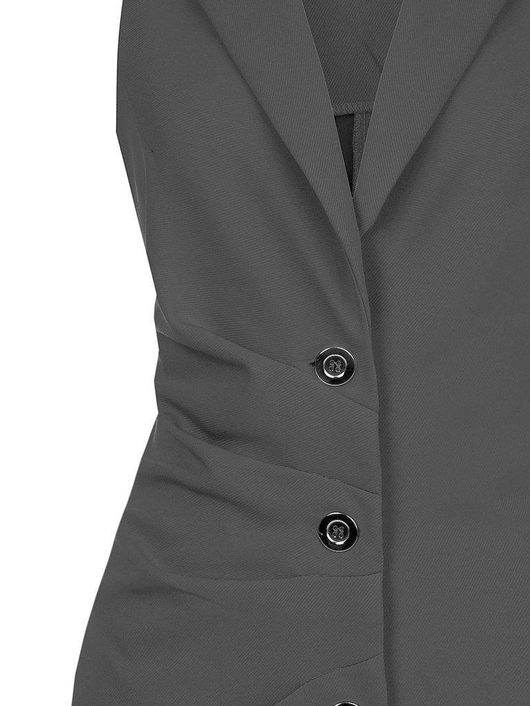 Rinascimento Rinascimento mouwloze blazerjurk met knopen zwart