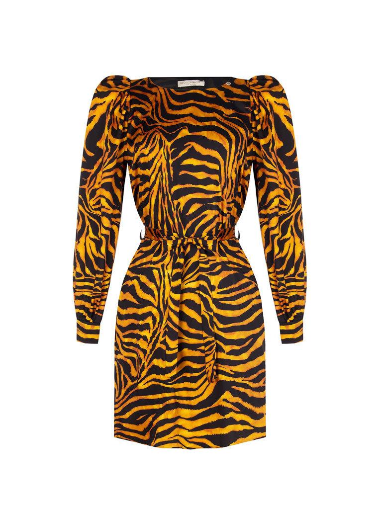 Rinascimento Rinascimento jurk met tijgerprint multicolor