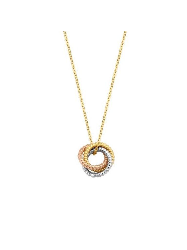 Just Franky Just Franky Vintage necklace Triple love goud
