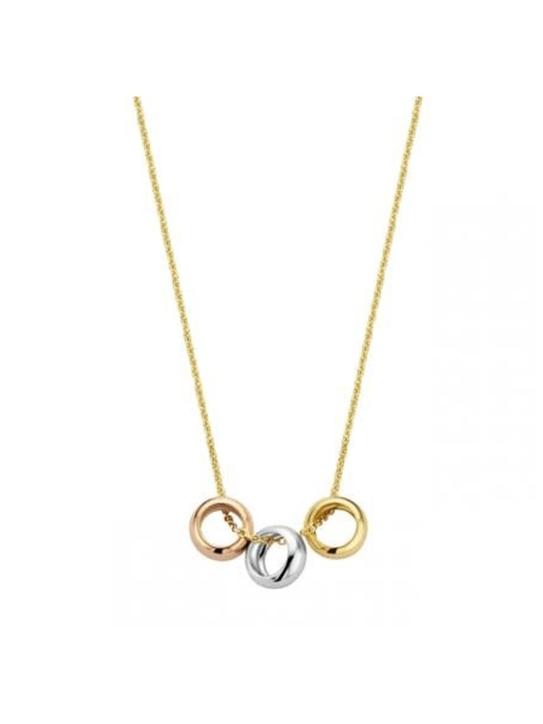 Just Franky Just Franky  Triple love necklace geelgoud
