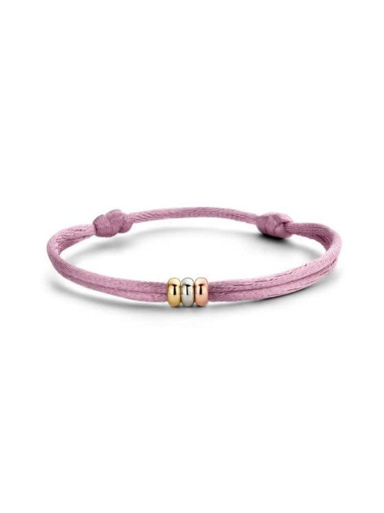 Just Franky Just Franky Triple love  bracelet silk geelgoud