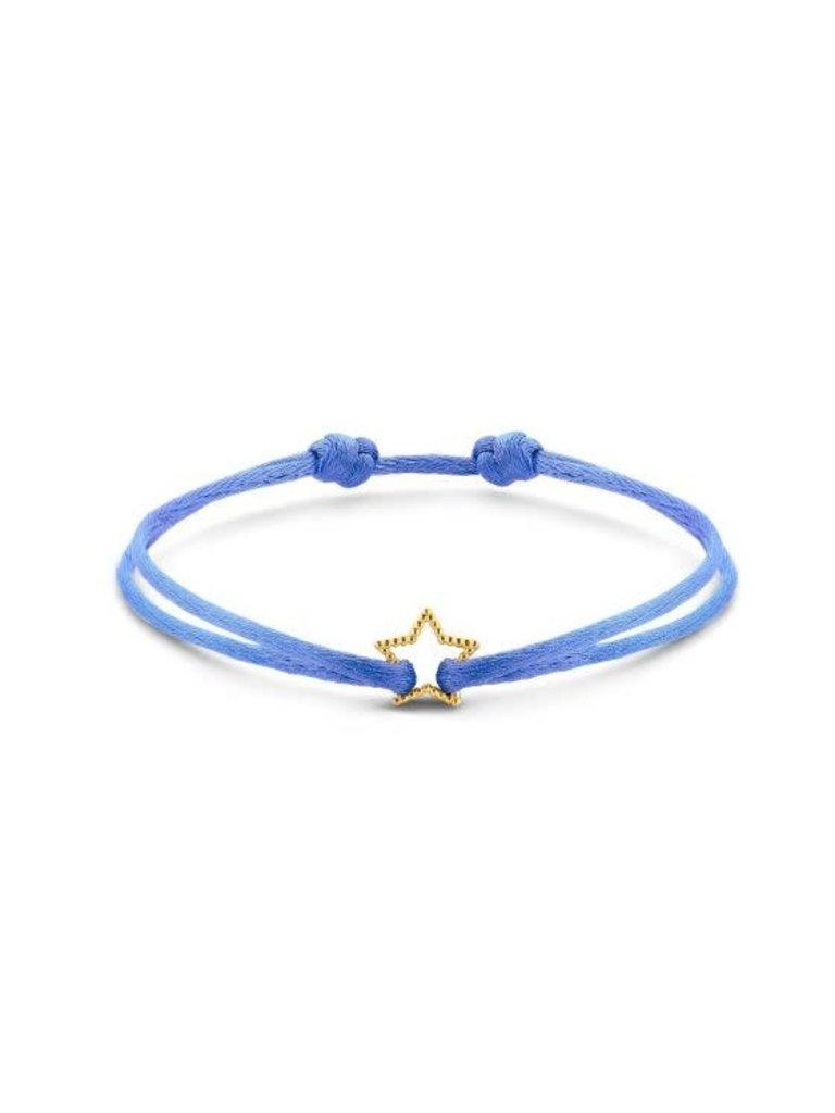 Just Franky Just Franky vintage star cord bracelet goud