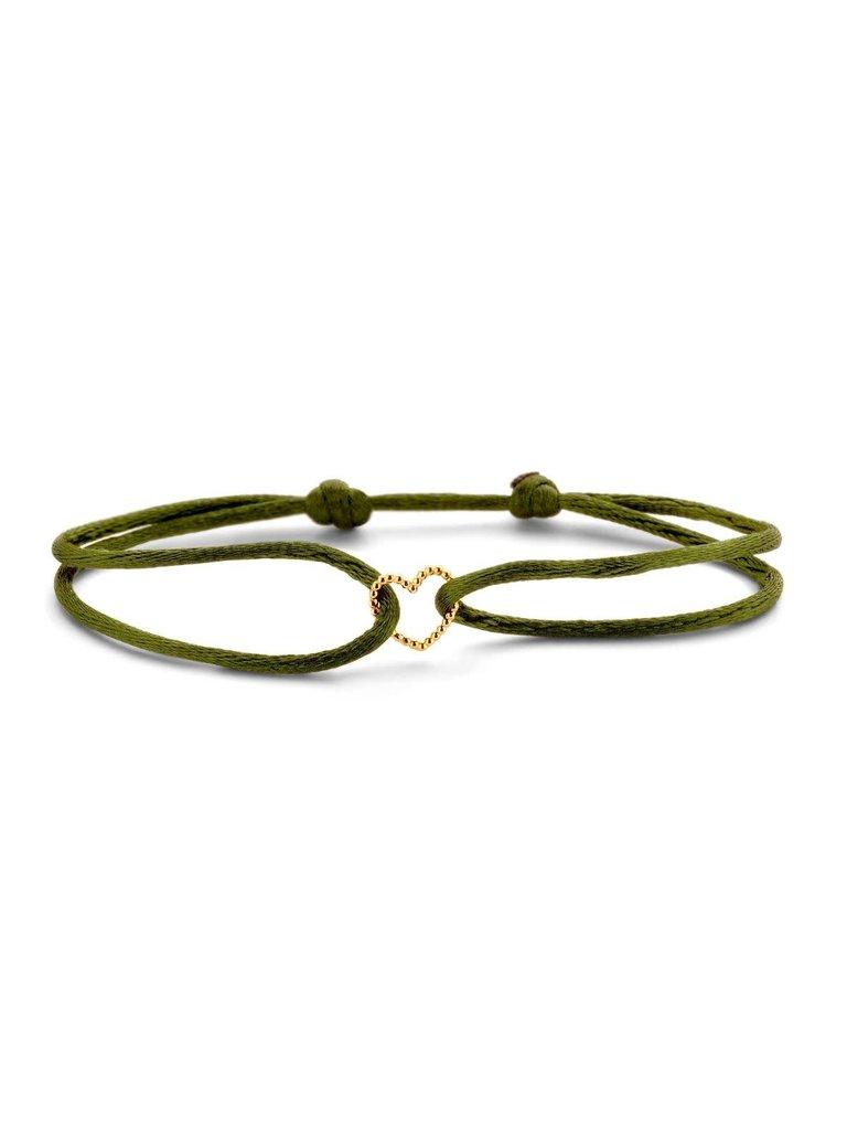 Just Franky Just Franky vintage heart cord bracelet goud