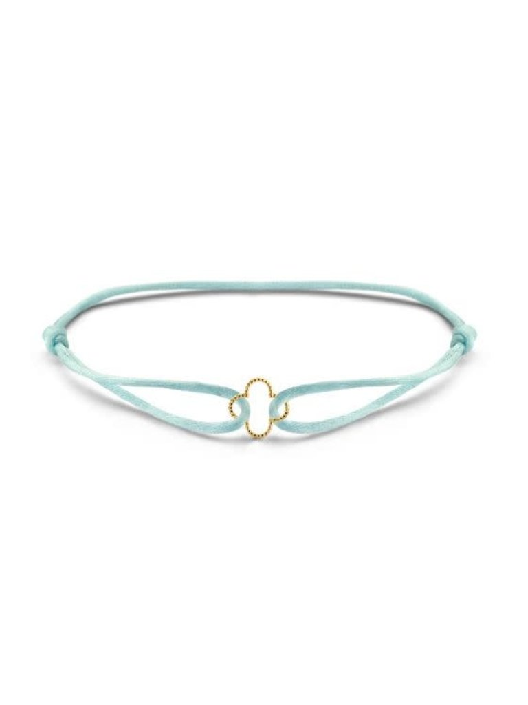 Just Franky Just Franky vintage clover cord bracelet geelgoud