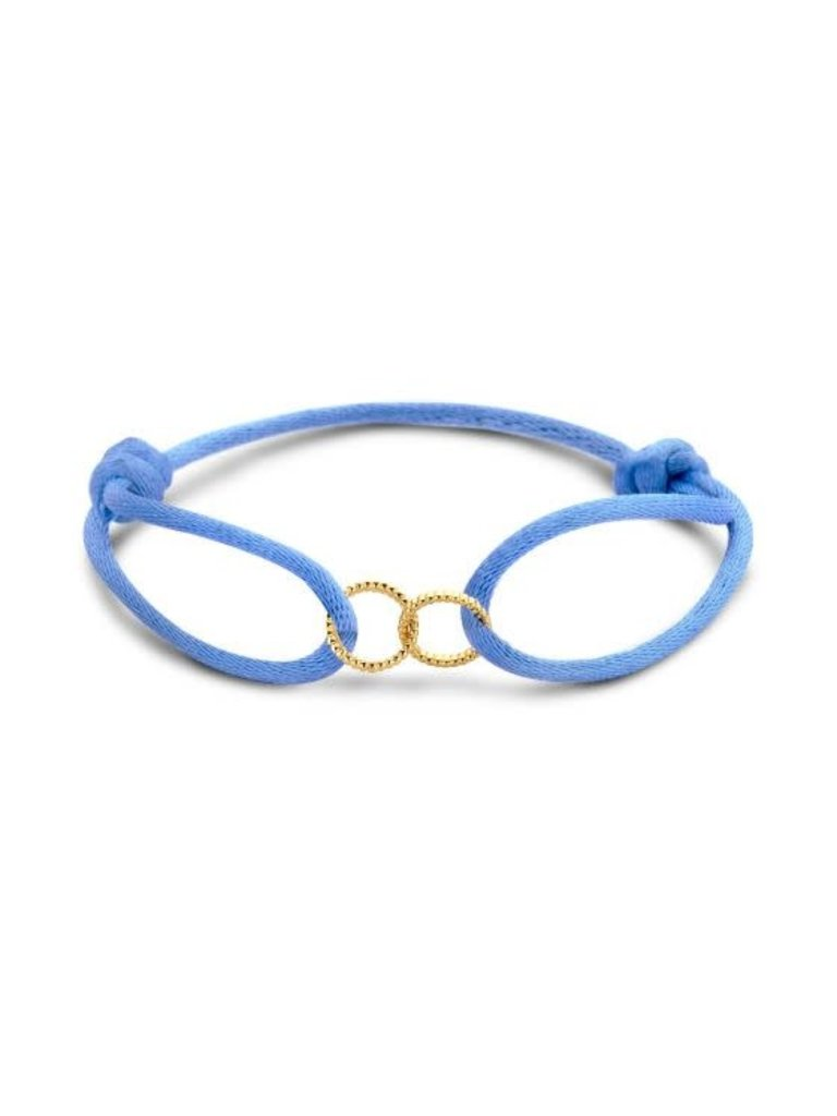 Just Franky Just Franky vintage double open circle cord bracelet geelgoud