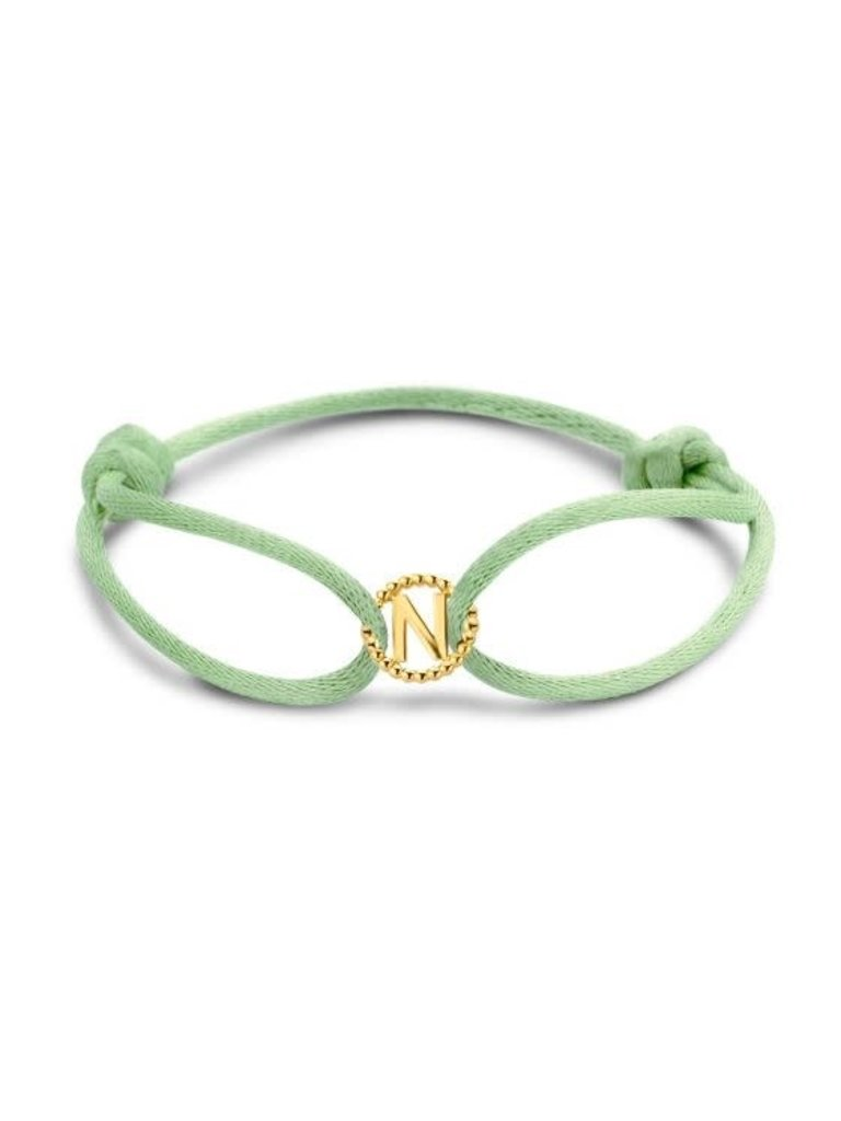 Just Franky Just Franky vintage letter cord bracelet geelgoud