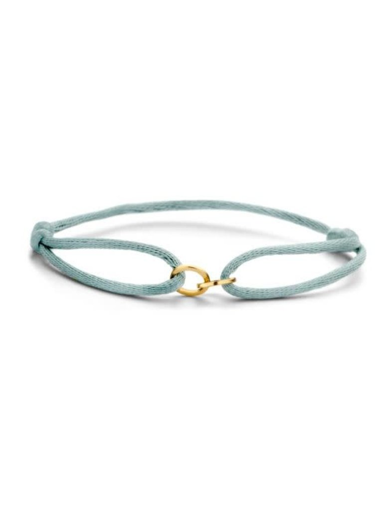 Just Franky Just Franky Iconic double open circle cord bracelet geelgoud