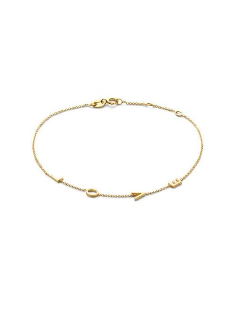 Just Franky Just Franky Love Letter bracelet  4 Initials geelgoud