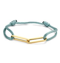Just Franky Just Franky 2 links cord bracelet geelgoud