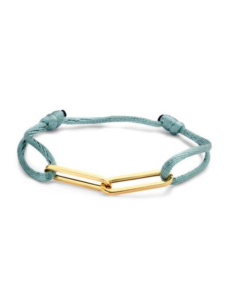 Just Franky Just Franky 2 links cord bracelet geelgoud