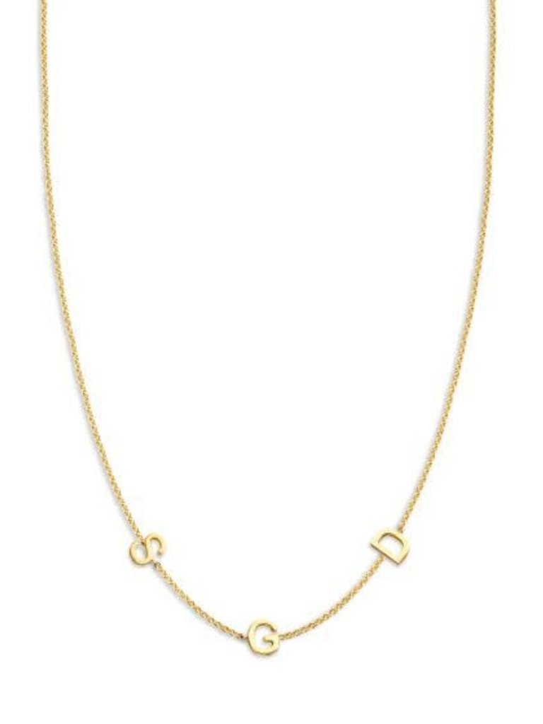 Just Franky Just Franky Love Letter Necklace 3 Initials geelgoud