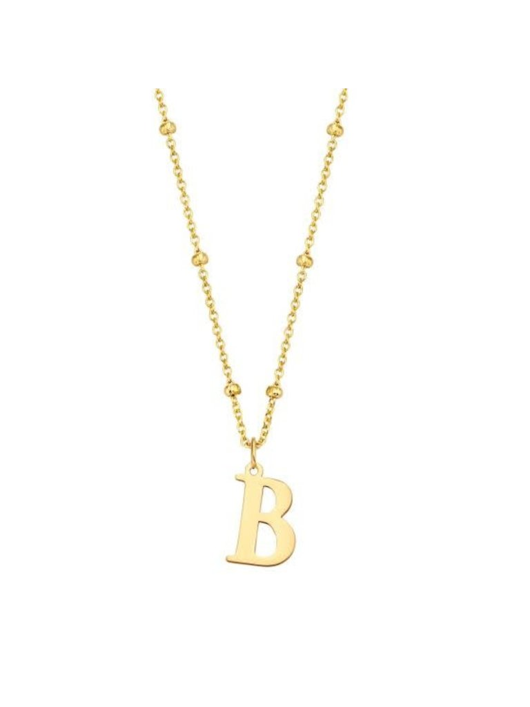 Just Franky Just Franky Charm Initial XL Bolletjes Collier geelgoud