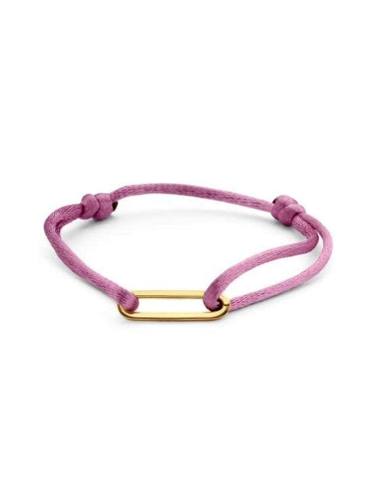 Just Franky Just Franky 1 link cord bracelet geelgoud