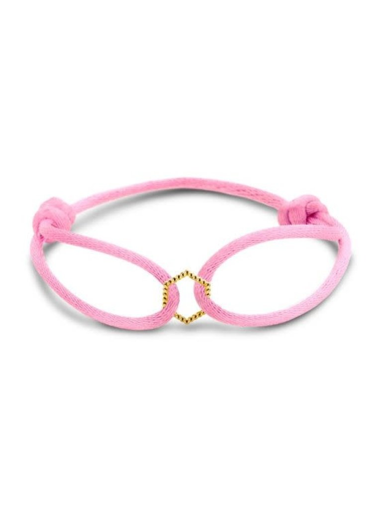 Just Franky Just Franky vintage hexagon cord bracelet geelgoud