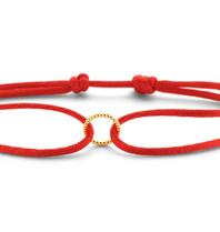 Just Franky Just Franky vintage round  cord bracelet geelgoud