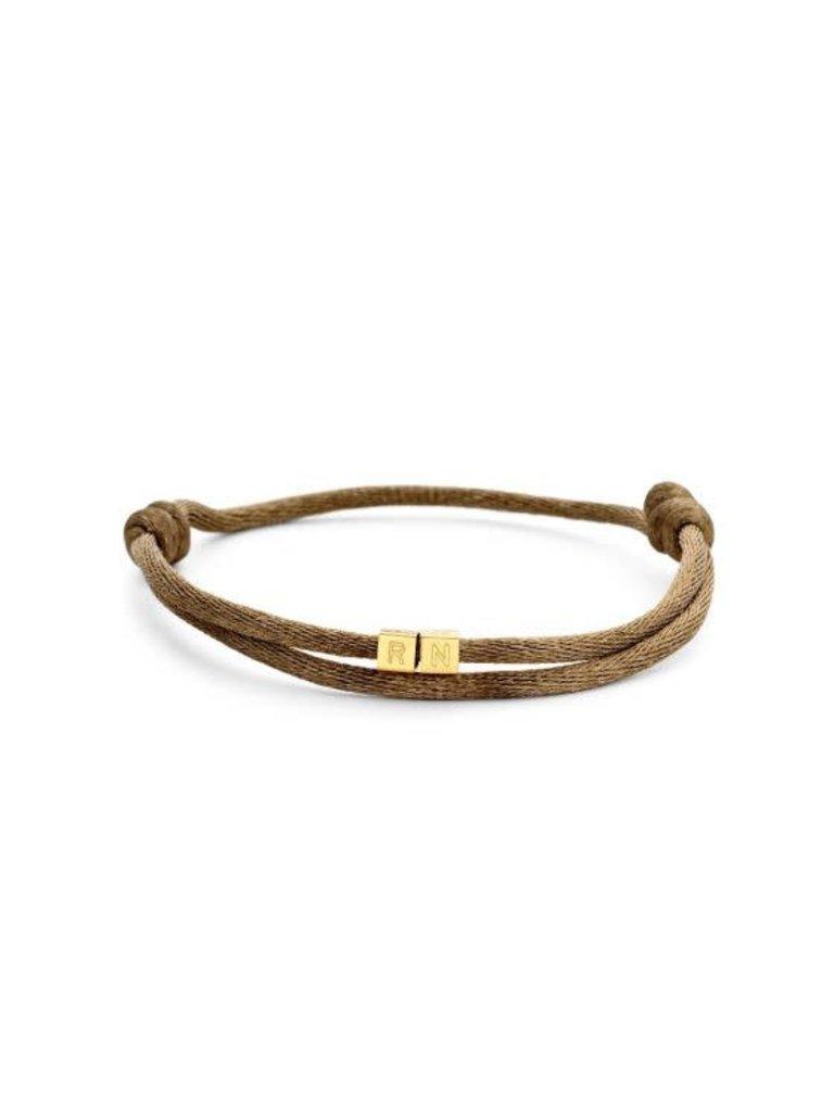 Just Franky Just Franky 2 cubes bracelet  geelgoud