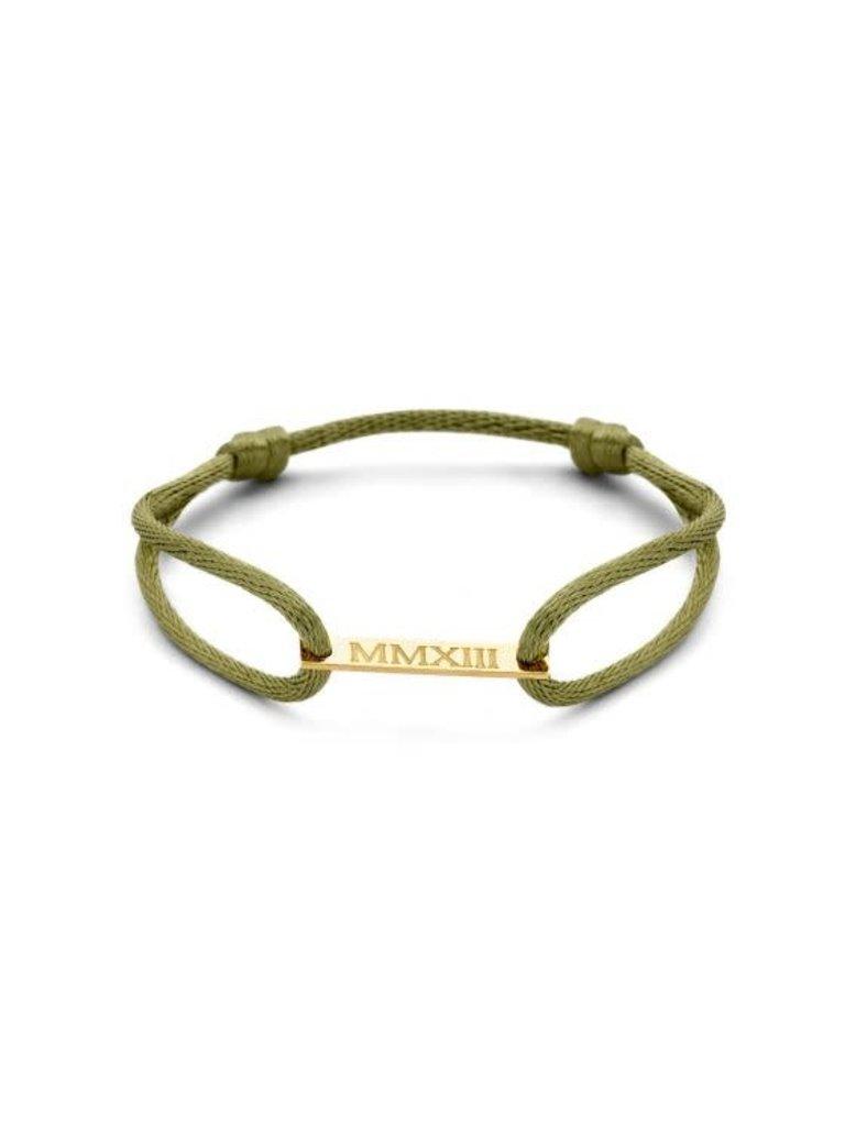 Just Franky Just Franky bar bracelet cord geelgoud