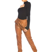 La Sisters LA Sister faux leather jogging camel