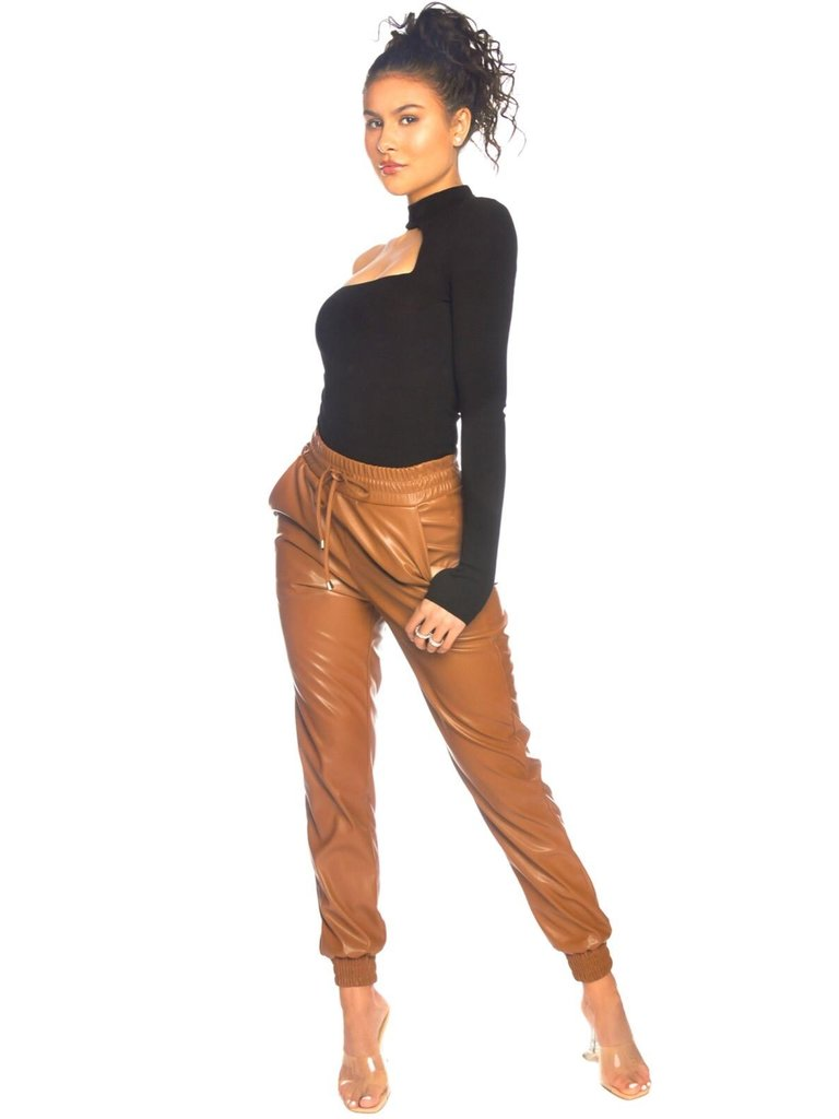 La Sisters LA Sisters faux leather jogging pants camel