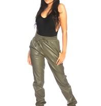 La Sisters LA Sisters faux leather jogging pants army