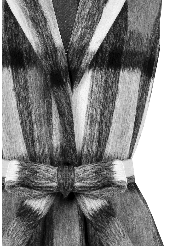 Rinascimento Rinascimento mouwloos vest met ceintuur geruit grijs