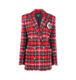 Balmain Balmain tweed blazer with double-breasted buttons and logo red