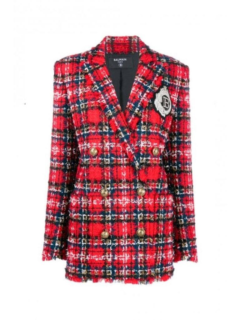 Balmain Balmain tweed blazer met double-breasted knopen en logo rood