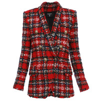 Balmain Balmain oversized double-breasted blazer in tweed red