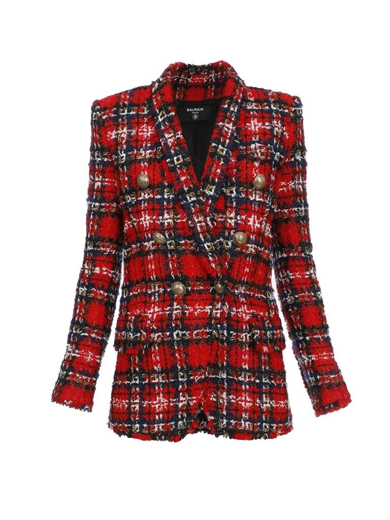 Balmain Balmain oversized double-breasted blazer in tweed red
