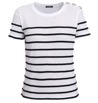 Balmain Balmain T-shirt striped black white
