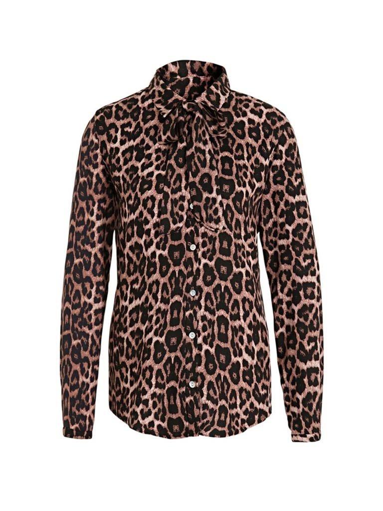 Est'seven Est'seven Leopard fall blouse with pink black bow