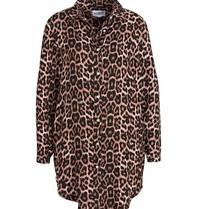 Est'seven Est'seven Leopard fallen lange Bluse rosa schwarz