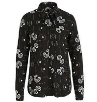 Est'seven Est'seven Paisley Bluse mit Sternenmuster und schwarzer Schleife