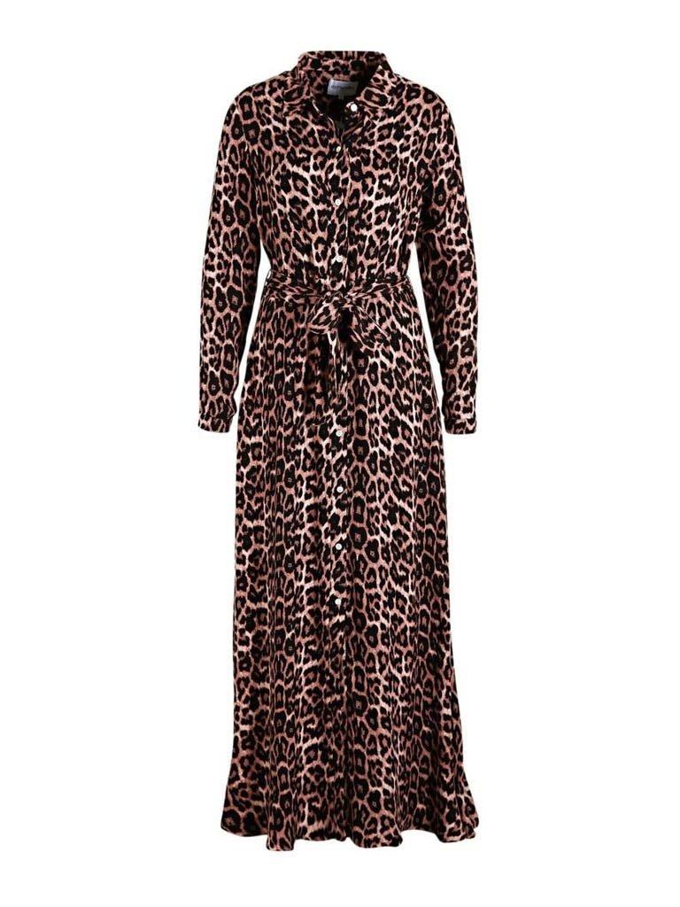 Est'seven Est'Seven Leopard Herbst Rio Maxi Kleid rosa schwarz