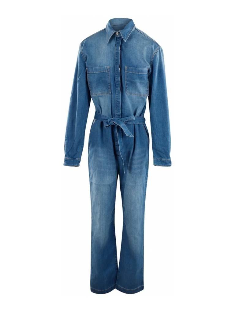 Est'seven Est'Seven Aliya denim jumpsuit blauw