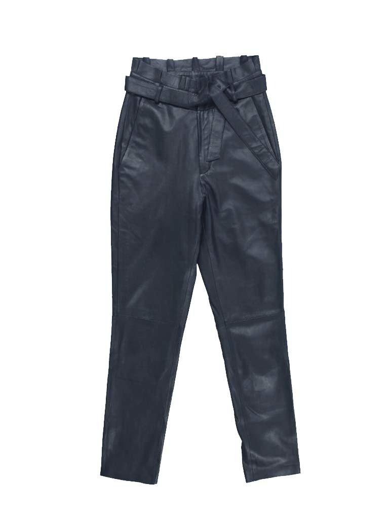 Est'seven Est'Seven leather ruffle pants dark blue