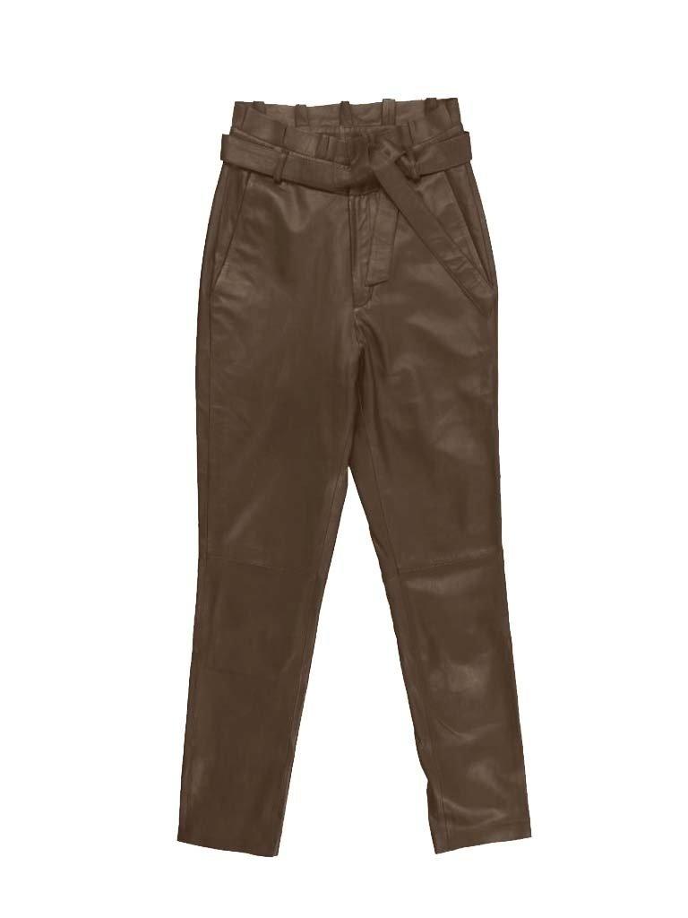 Est'seven Est'Seven leather ruffle pants taupe