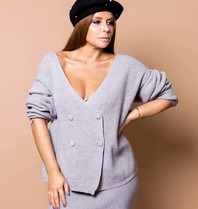 Body by Olcay Body by Olcay oversized cardigan light grey melange
