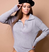 Body by Olcay Body by Olcay knitted polo body light grey melange
