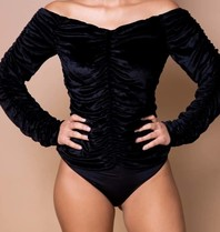 Body by Olcay Body by Olcay gathered velvet body zwart