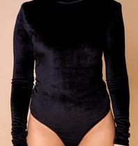 Body by Olcay Body by Olcay turtleneck velvet padded body zwart
