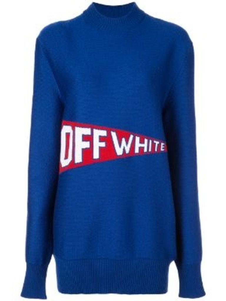 Off-White Grauweißer Oversize-Pullover mit blauem Logo