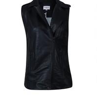 Est'seven Est'Seven Dani leather gilet zwart