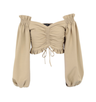 Lavish Alice Lavish Alice off-shoulder top with olive green stitching