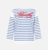 Philosophy Di Lorenzo Serafini Philosophy Di Lorenzo Serafini top with stripes print blue white