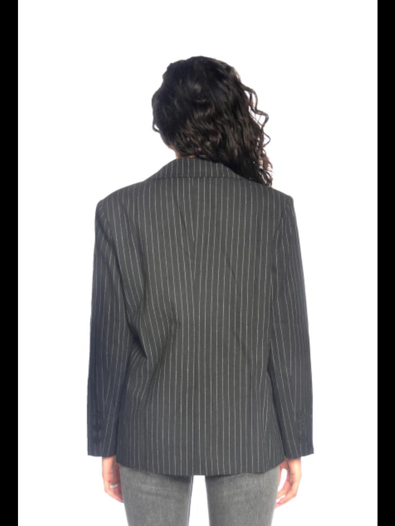 La Sisters LA Sisters pinstripe oversized blazer zwart