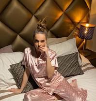 FALLON Amsterdam LA Sisters logo silk pyjama roze