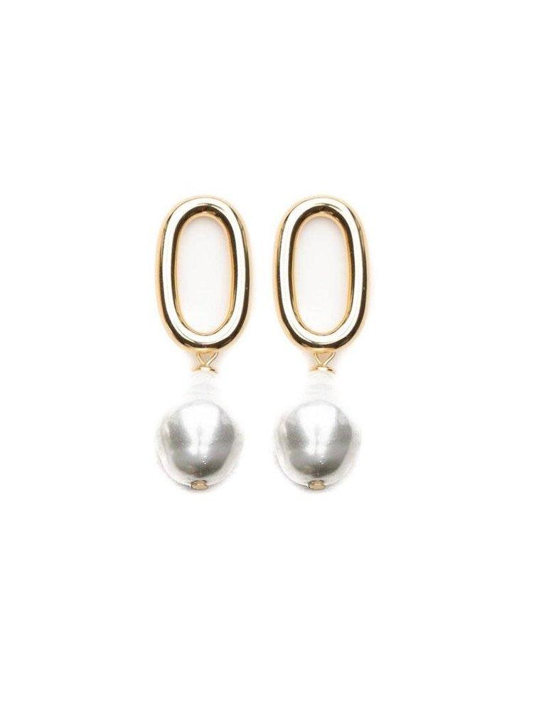 Souvenirs de Pomme Souvenirs de Pomme Audrey parel oorbellen goud