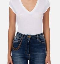 Elisabetta Franchi Elisabetta Franchi v-hals T-shirt met logo wit